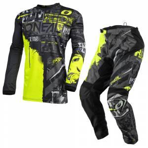ONeal Element Ride Black Neon Yellow Motocross Kit Combo