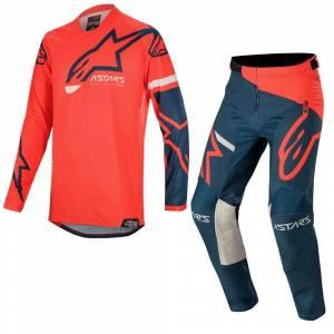 Alpinestars Racer Tech Compass Bright Red Navy Motocross Kit Combo