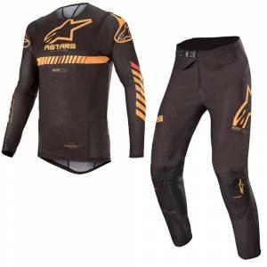 Alpinestars Supertech Black Orange Red Fluo Motocross Kit Combo