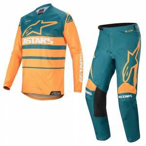 Alpinestars Racer Supermatic Orange Petrol Motocross Kit Combo