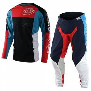 Troy Lee Designs SE Pro Quattro Navy Red Motocross Kit Combo