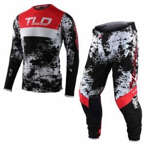 Troy Lee Designs SE Ultra Grime Black Rocket Red Motocross Kit Combo