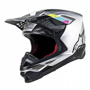 Alpinestars Supertech S-M8 Contact Silver Black Motocross Helmet