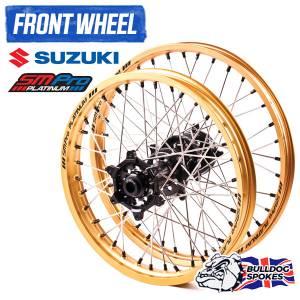 SM Pro Platinum Motocross Front Wheel - Suzuki Black Gold Black