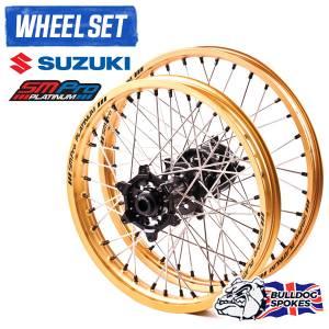 SM Pro Platinum Motocross Wheel Set - Suzuki Black Gold Black