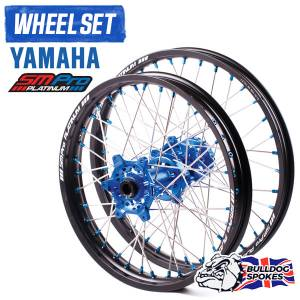 SM Pro Platinum Motocross Wheel Set - Yamaha Blue Black Blue