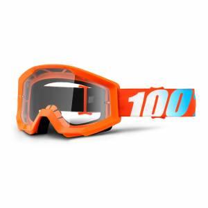 100% Kids Strata Orange Clear Lens Motocross Goggles