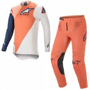 Alpinestars Supertech Blaze Orange Dark Blue Motocross Kit Combo