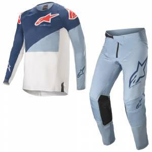 Alpinestars Techstar Factory Powder Blue Dark Blue Motocross Kit Combo
