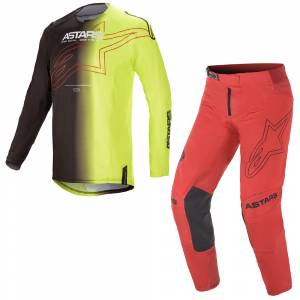 Black Yellow Fluo RedAlpinestars Techstar Phantom Black Yellow Fluo Red Motocross Kit Combo