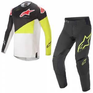 Alpinestars Techstar Factory Black Yellow Fluo White Motocross Kit Combo