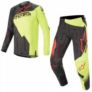 Alpinestars Techstar Factory Black Yellow Fluo Red Fluo Motocross Kit Combo