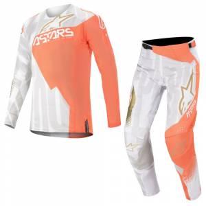 Alpinestars Techstar Factory Metal White Orange Fluo Gold Motocross Kit Combo