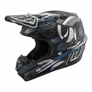 Troy Lee Designs SE4 Composite Eyeball Black Silver Motocross Helmet