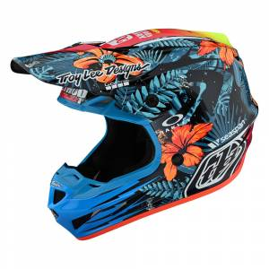 Troy Lee Designs SE4 Composite Cosmic Jungle Blue Motocross Helmet
