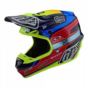 Troy Lee Designs SE4 Carbon Speed Team Blue Yellow Motocross Helmet