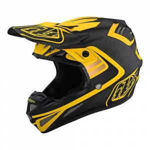 Troy Lee Designs SE4 Carbon Flash Black Yellow Motocross Helmet