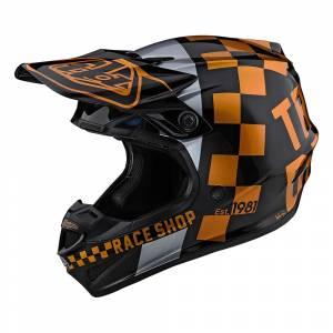 Troy Lee Designs SE4 Polyacrylite Checker Black Gold Motocross Helmet