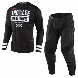 Troy Lee Scout GP Peace and Wheelies Black Motocross Kit Combo