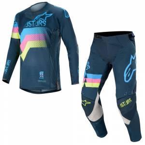 Alpinestars Techstar Venom Navy Aqua Pink Fluo Motocross Kit Combo