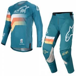 Alpinestars Techstar Venom Petrol White Orange Fluo Motocross Kit Combo