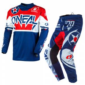 ONeal Element Warhawk Blue Red Motocross Kit Combo