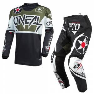 ONeal Element Warhawk Black White Green Motocross Kit Combo