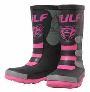 Wulfsport Kids Mud Stomper Black Pink Grey Wellington Boots