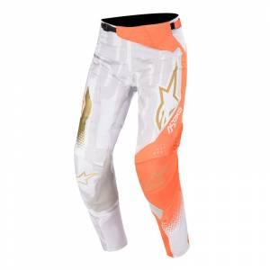 Alpinestars Techstar Factory Metal White Orange Fluo Gold Motocross Pants