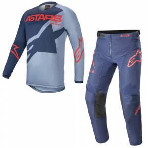 Alpinestars Kids Racer Braap Dark Blue Powder Bright Red Motocross Kit Combo