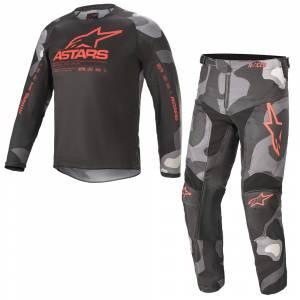Alpinestars Kids Racer Tactical Grey Camo Red Motocross Kit Combo