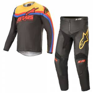 Alpinestars Kids Racer Venom Black Bright Red Orange Motocross Kit Combo