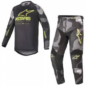 Alpinestars Kids Racer Tactical Grey Camo Yellow Motocross Kit Combo