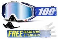 100% Racecraft Cobalt Blue Blue Mirror Lens Motocross Goggles