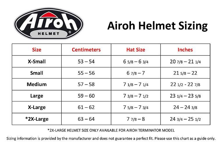 Airoh helmet size guide