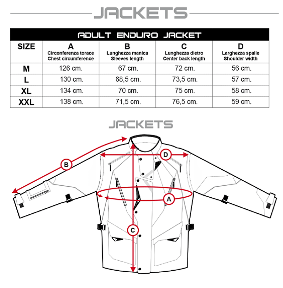 UFO jacket size chart