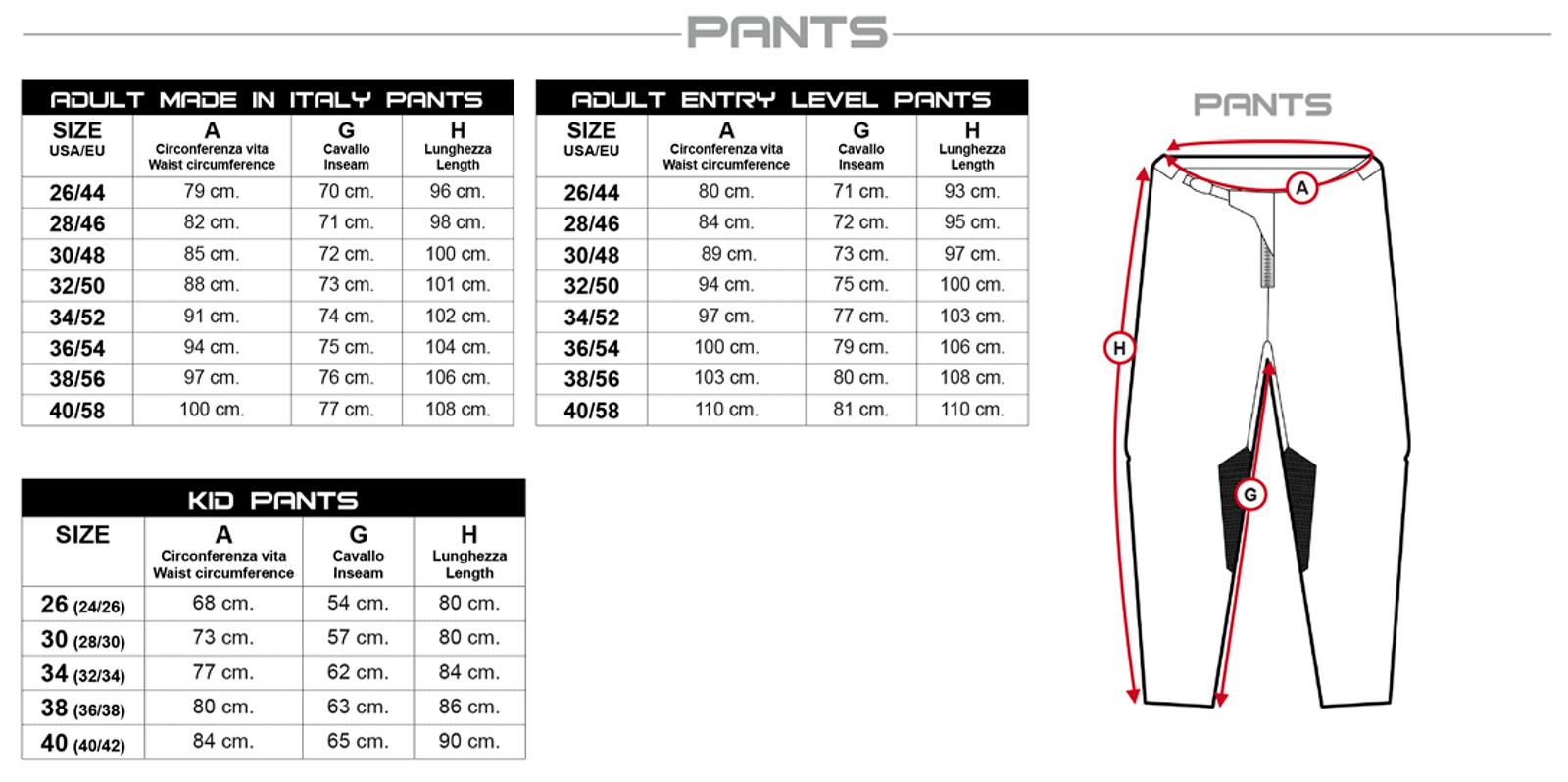 UFO pants size chart
